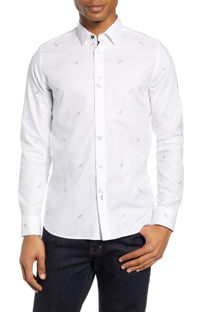 TED BAKER LONDON Nowhy Dragonfly Print Button-Up Shirt, Main, color, WHITE