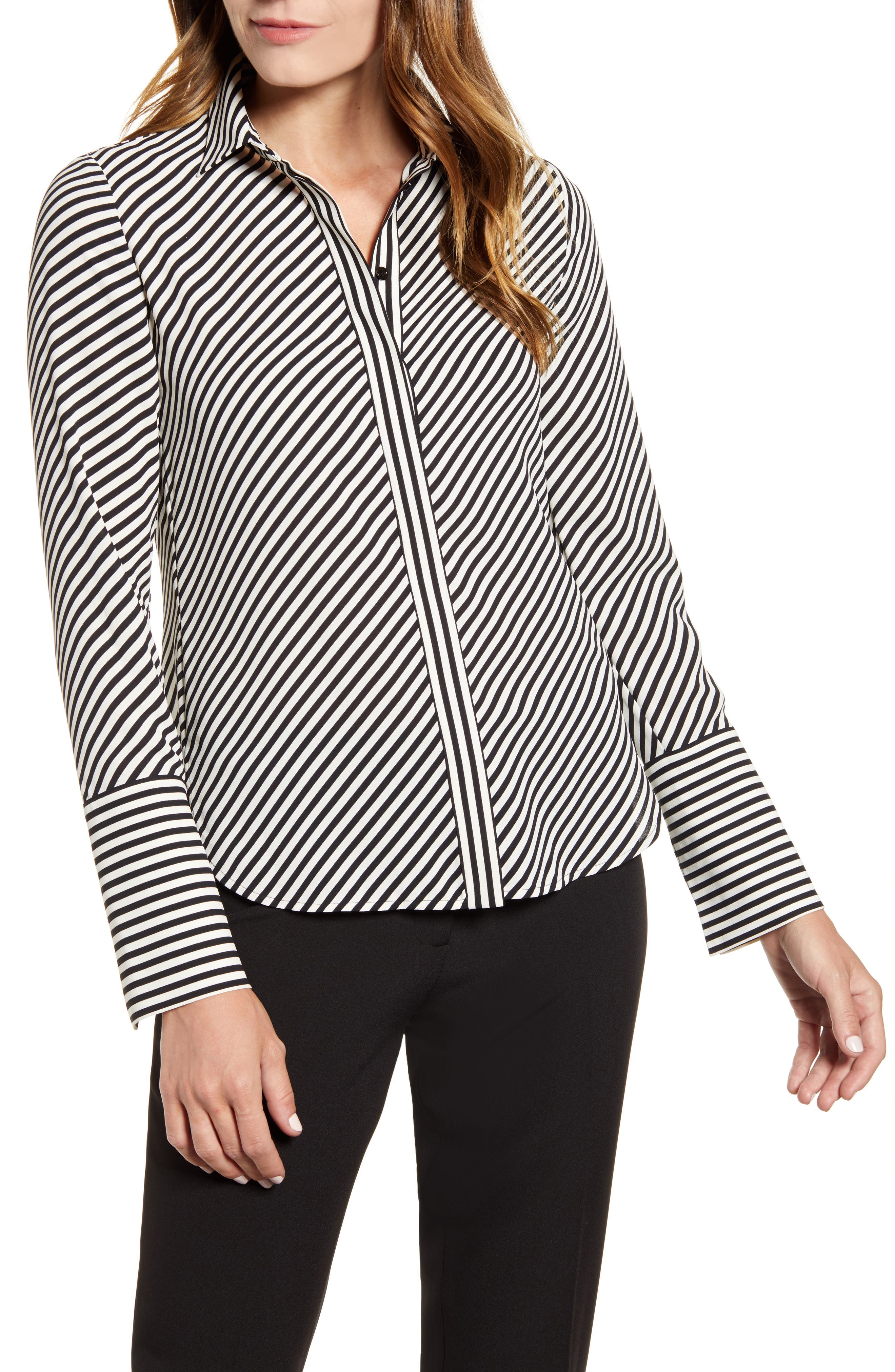 Stripe Extended Cuff Blouse