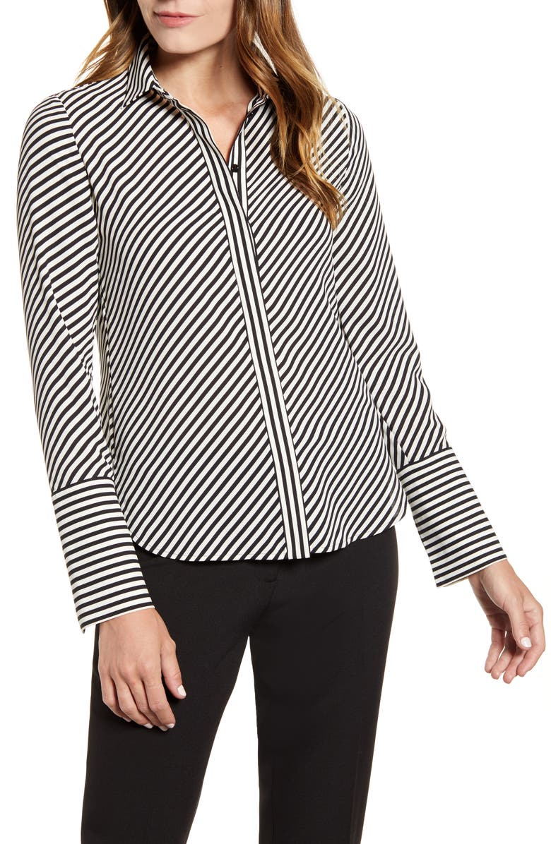 ANNE KLEIN Stripe Extended Cuff Blouse, Main, color, ANNE BLK/ ANNE WHITE COMBO
