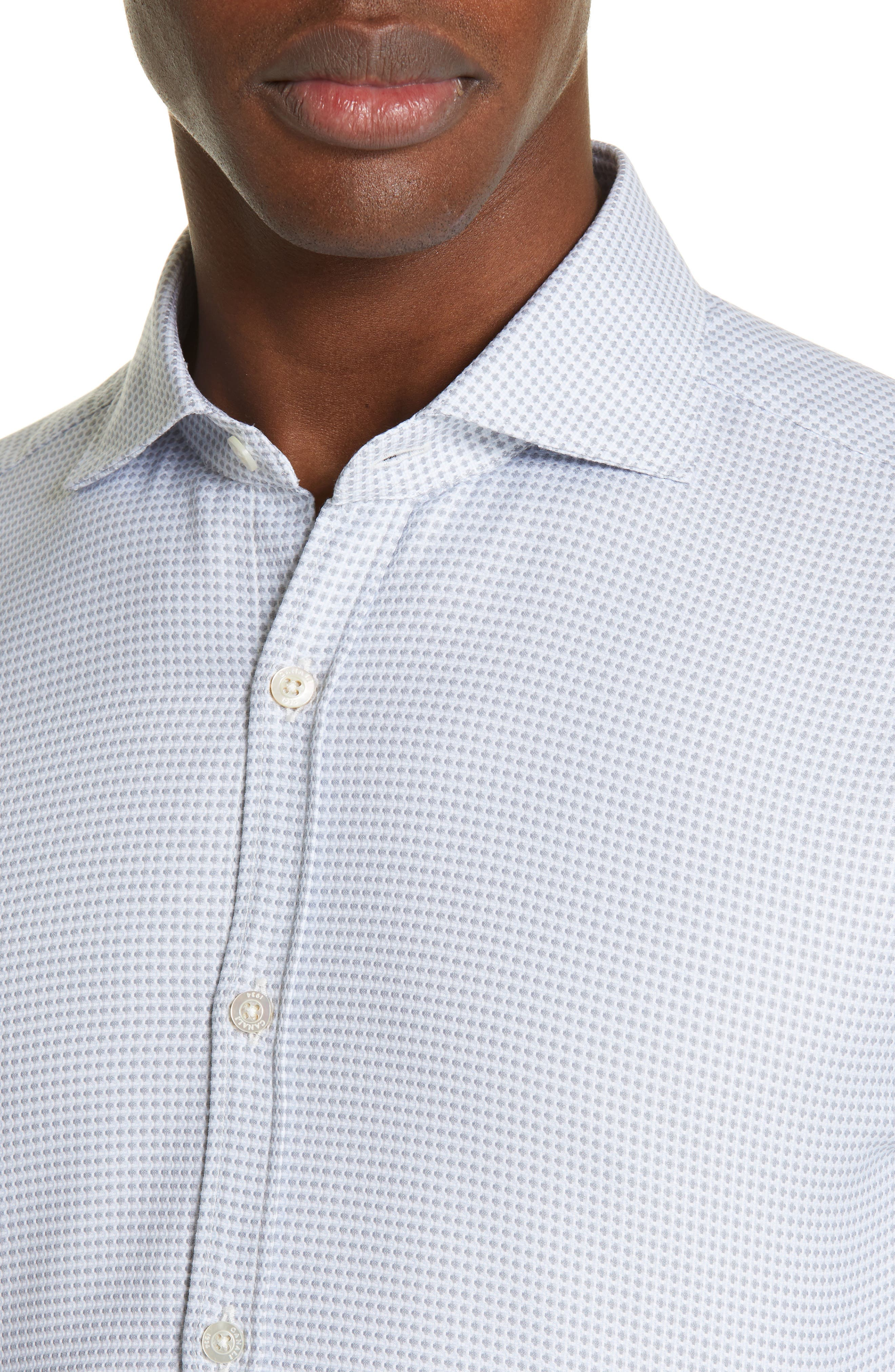 ,                             Geometric Regular Fit Cotton Dress Shirt,                             Alternate thumbnail 2, color,                             GREY