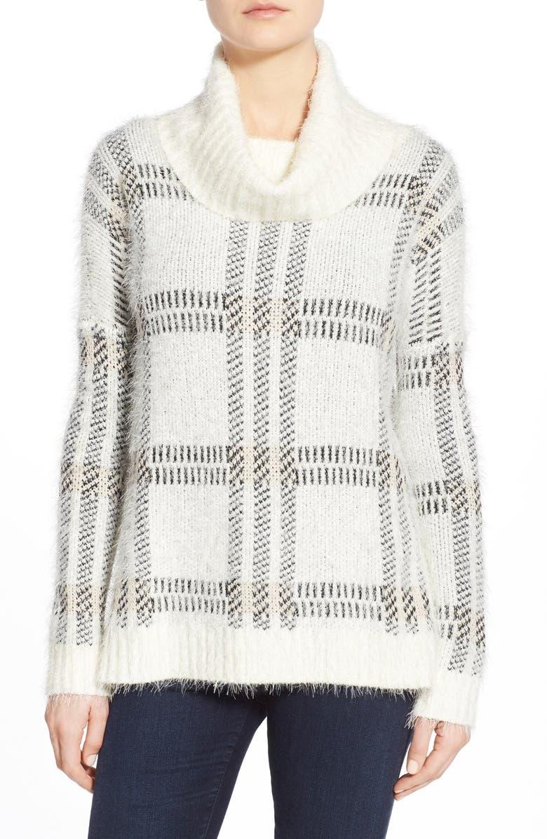 SANCTUARY Cozy Plaid Cowl Neck Sweater, Main, color, 100