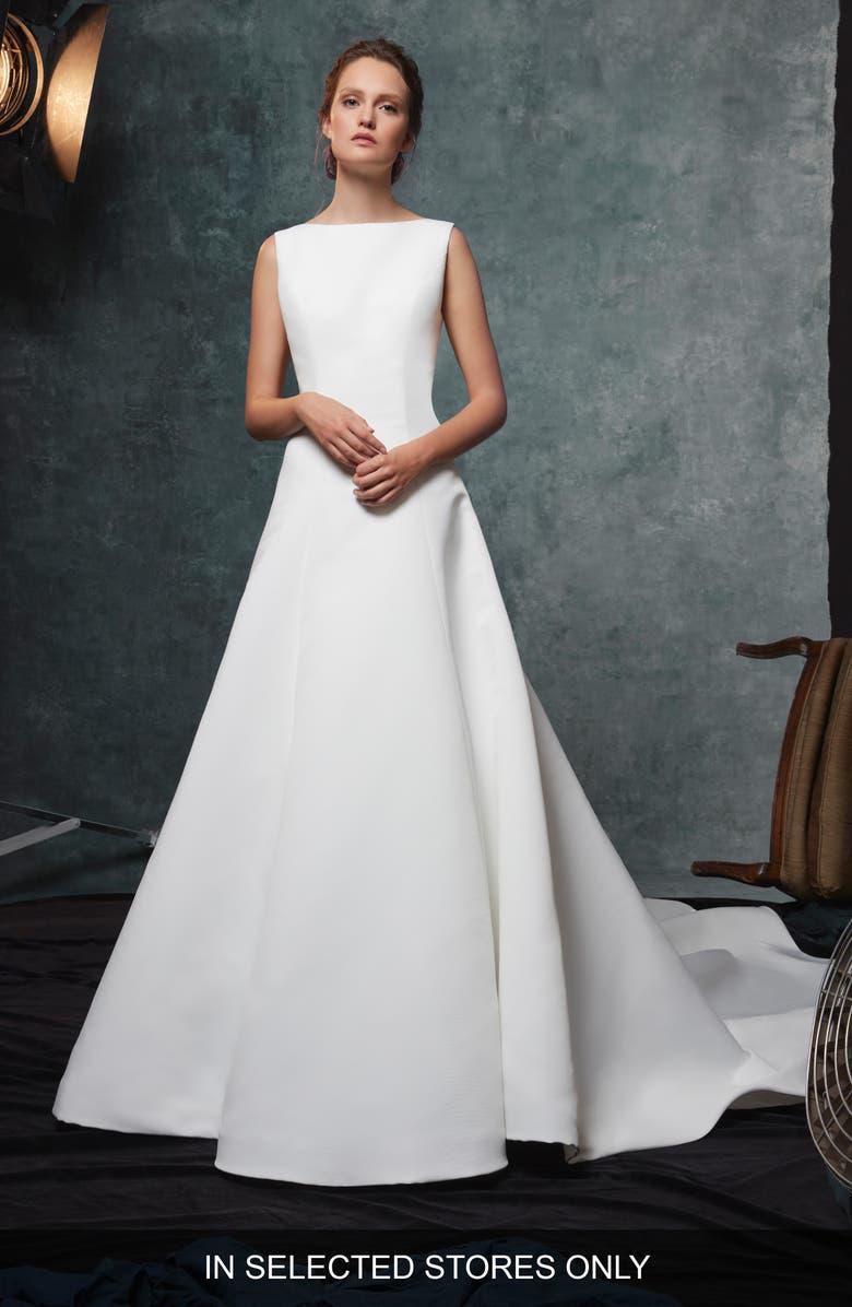 SAREH NOURI Dakota Fit & Flare Faille Wedding Dress, Main, color, 900