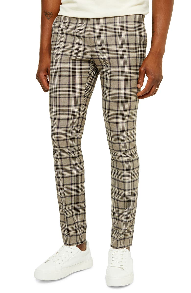 TOPMAN Radio Check Skinny Fit Pants, Main, color, 020