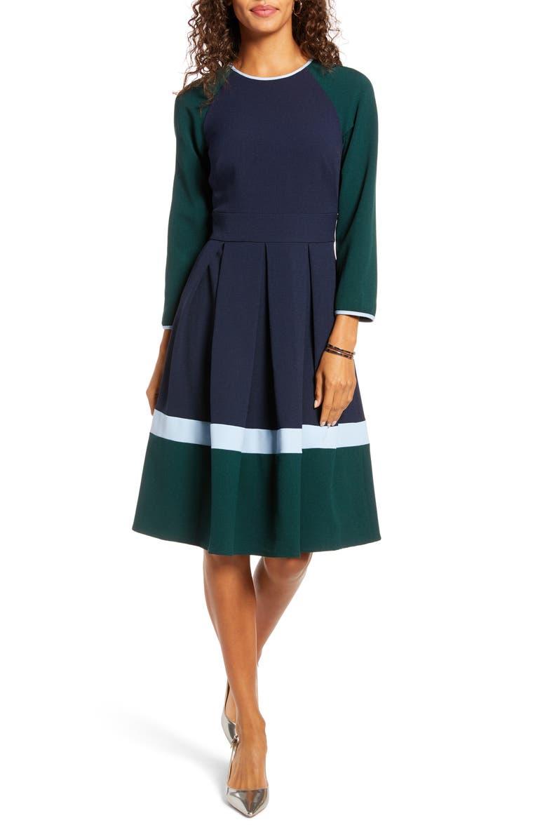 1901 Colorblock Long Sleeve Pleated Midi Dress, Main, color, NAVY