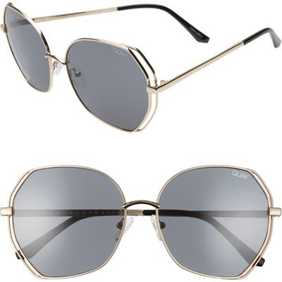 Quay Australia Big Love 5m Gradient Round Sunglasses - Gold/ Smoke