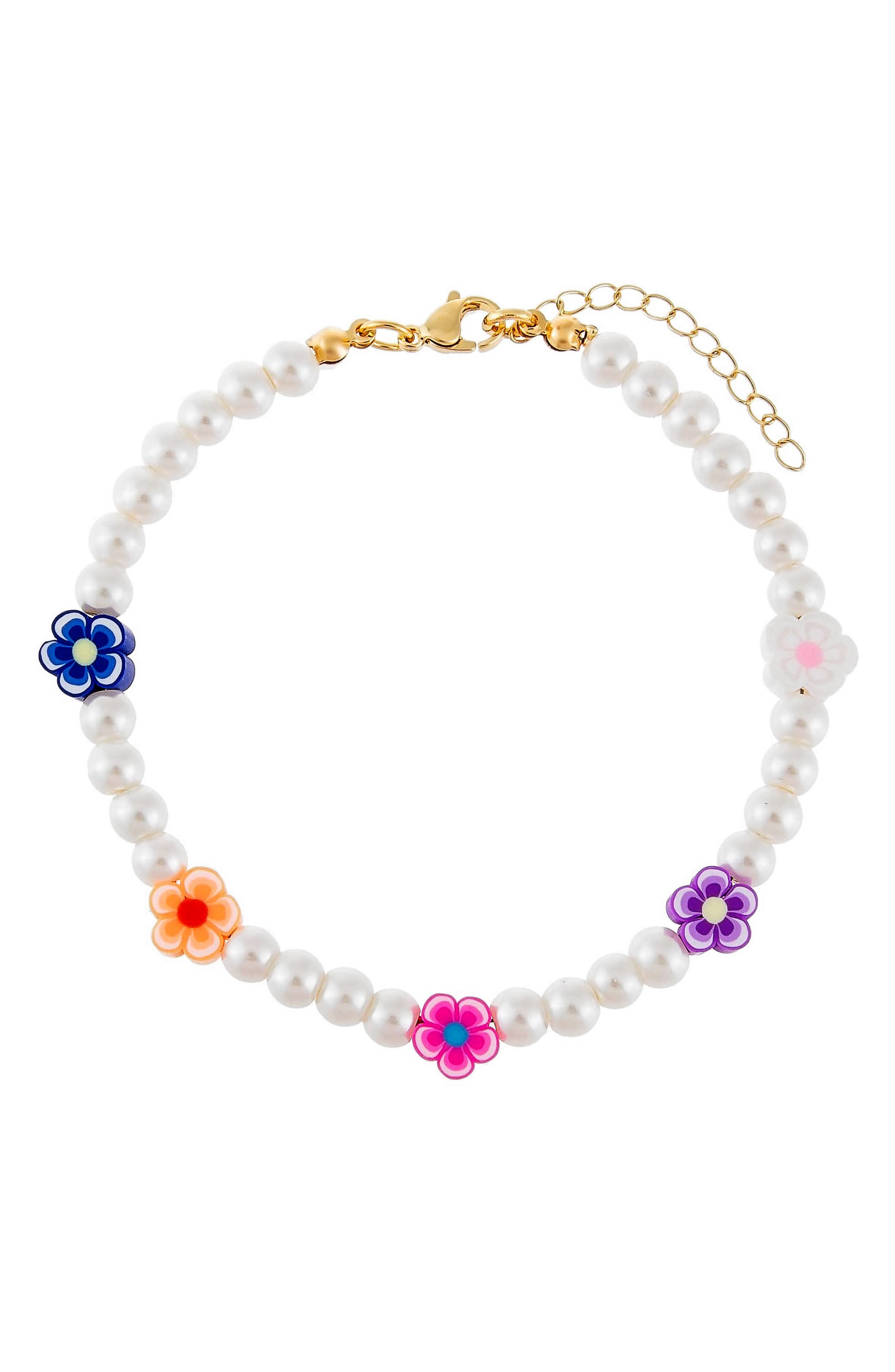 Women's Adina's Jewels Neon Color Flower & Imitation Pearl Anklet