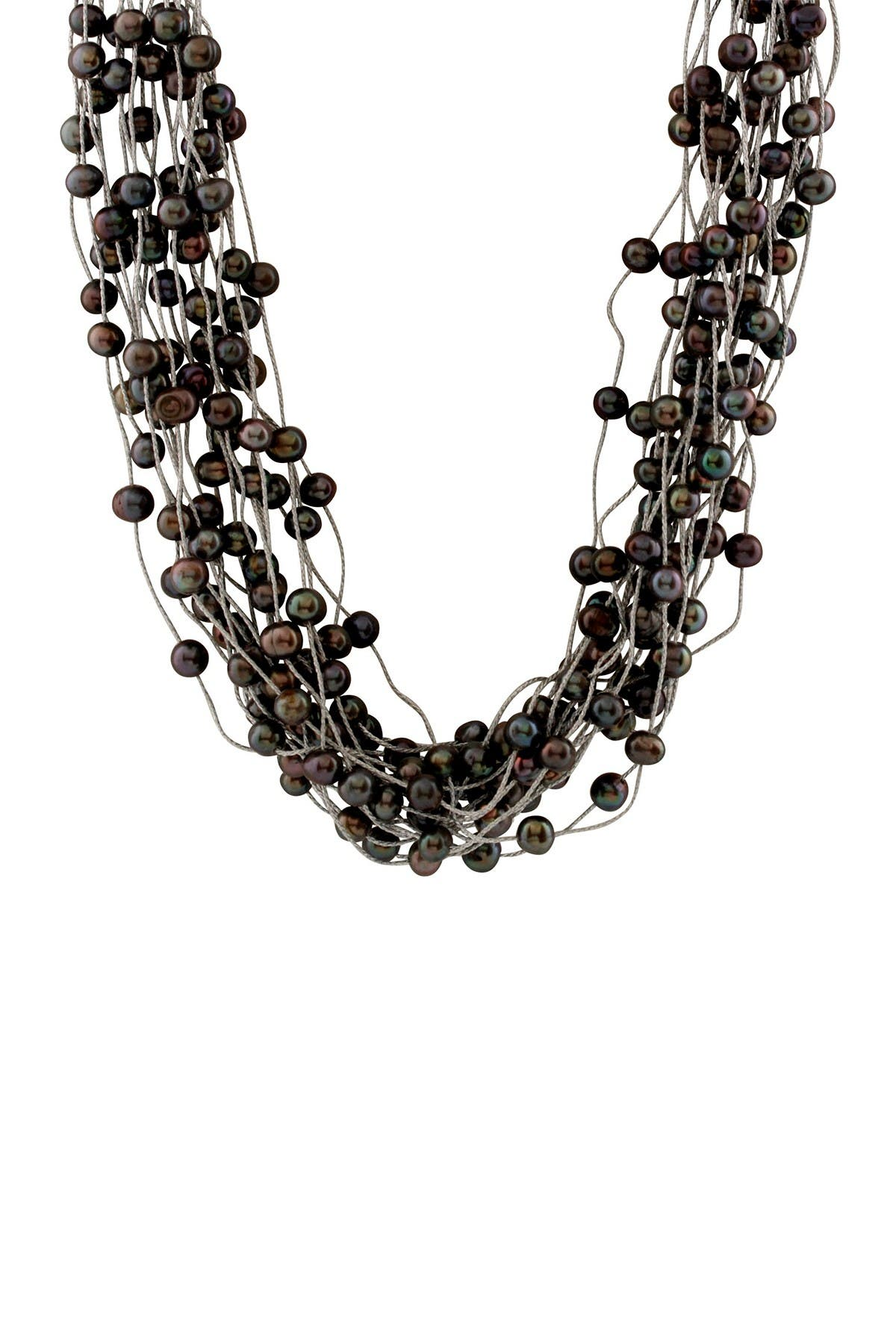 Image of Splendid Pearls 6-8mm Dyed Black Freshwater Pearl 18-Row Necklace