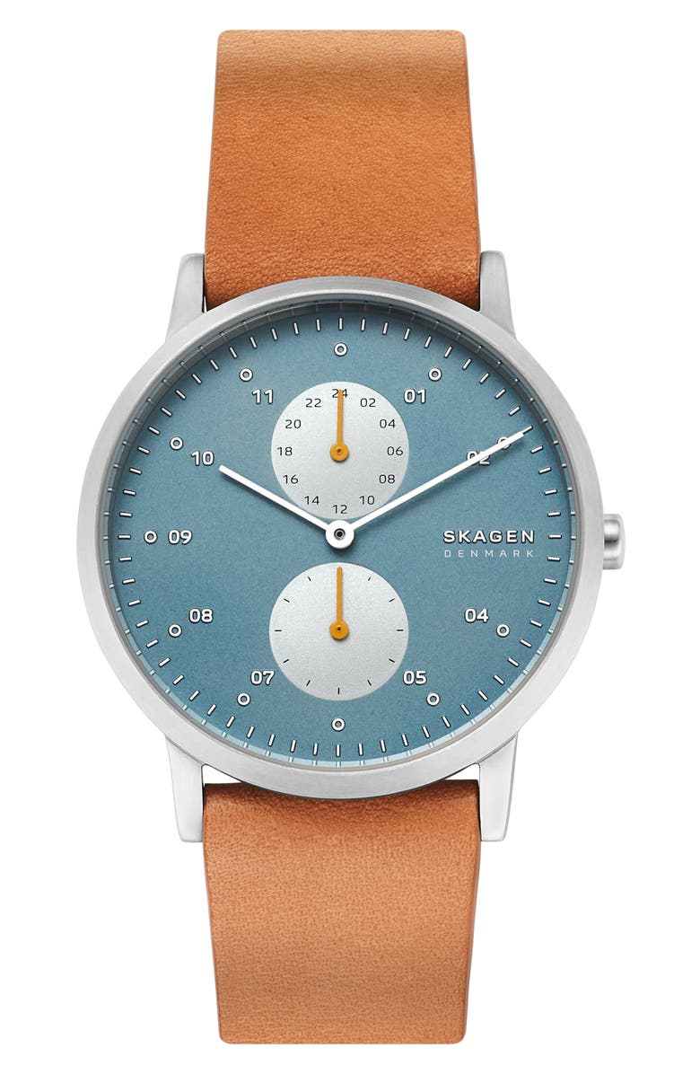 SKAGEN Designs Kristoffer Multifunction Leather Strap Watch, 42mm, Main, color, YELLOW/ BLUE/ SILVER