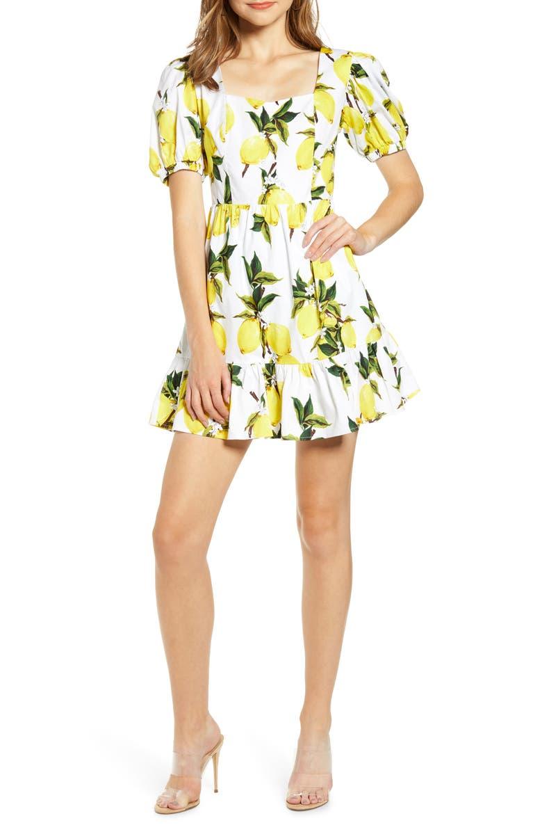 ENGLISH FACTORY Lemon Print Puff Sleeve Stretch Cotton Minidress, Main, color, WHITE