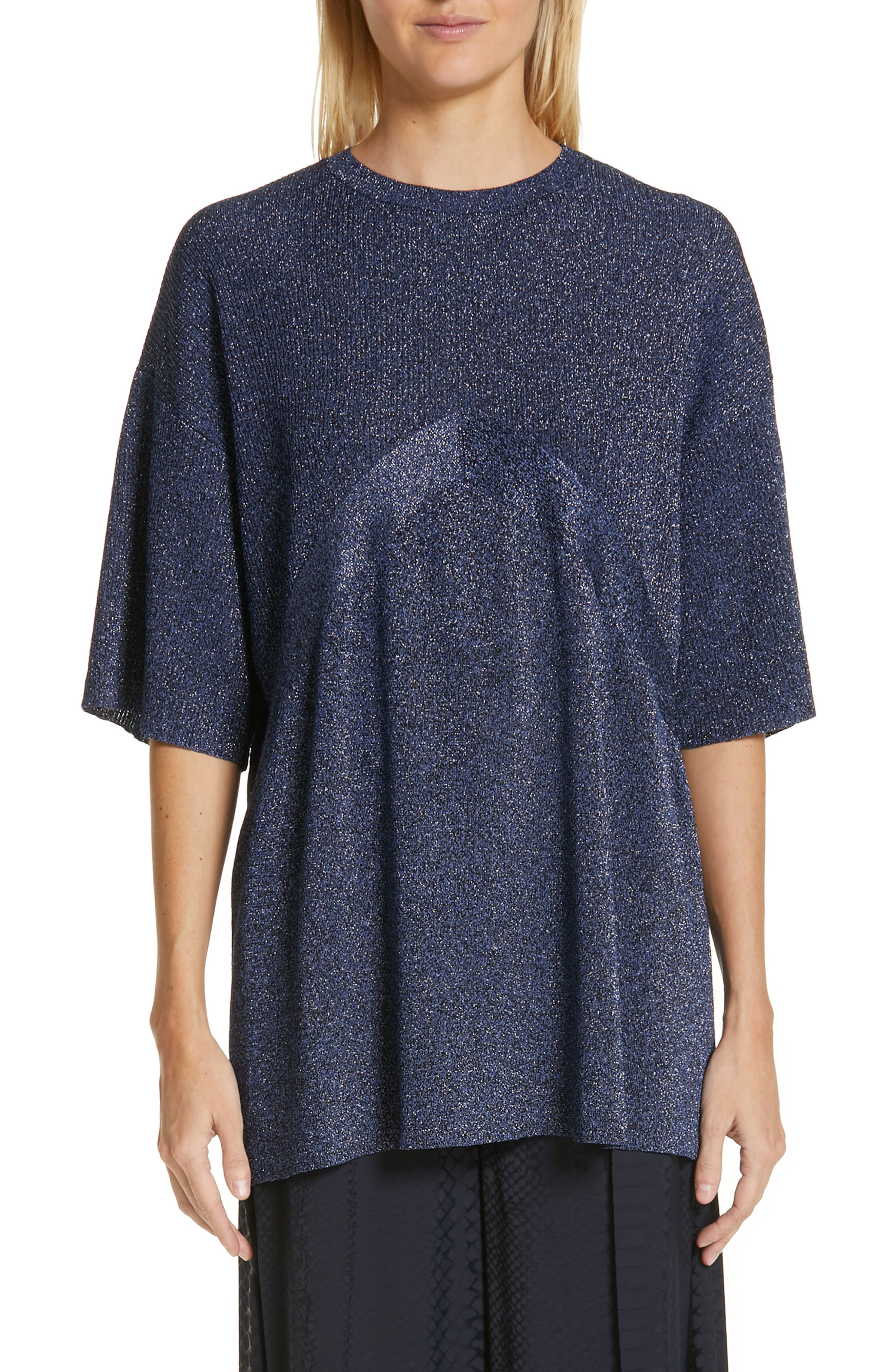 ,                             Metallic Knit Sweater,                             Main thumbnail 1, color,                             BLUE