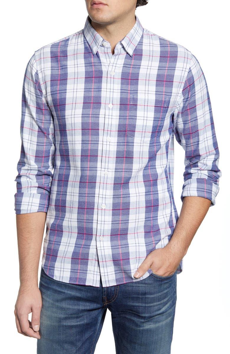BONOBOS Slim Fit Plaid Button-Up Shirt, Main, color, NUORO PLAID - BLUE DEPTHS