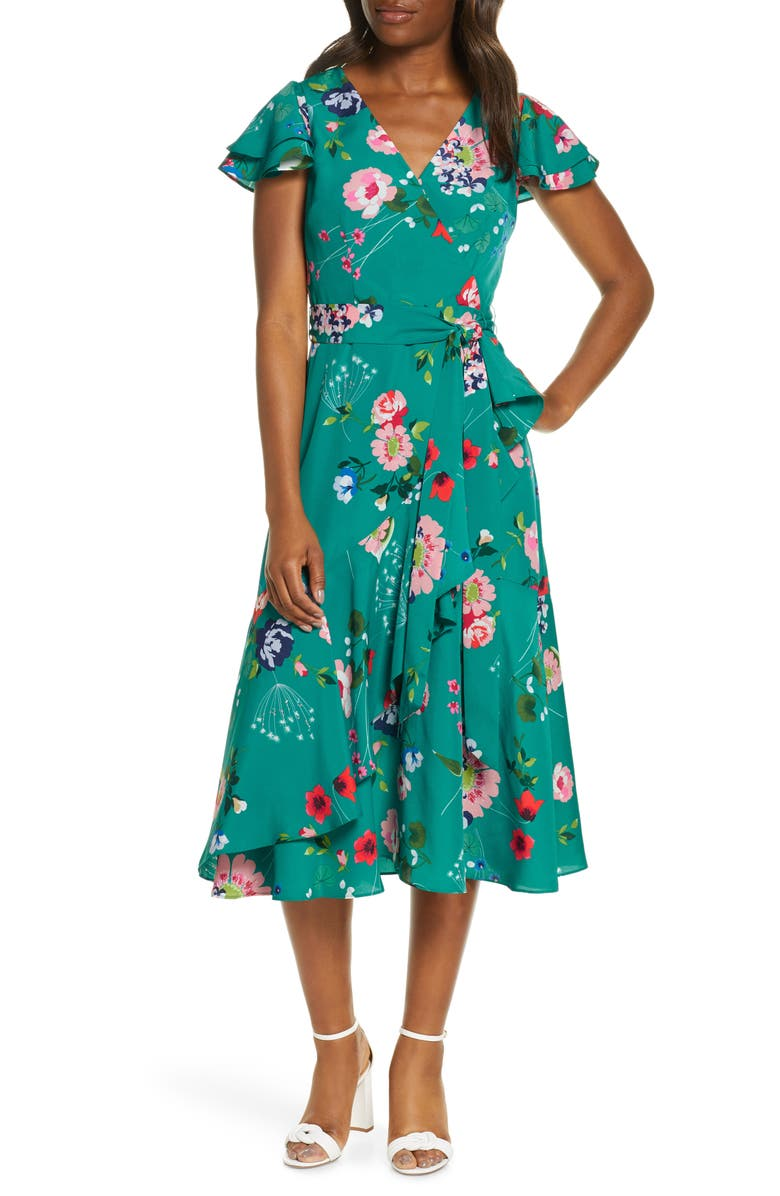 ELIZA J Floral Flutter Midi Faux Wrap Dress, Main, color, GREEN