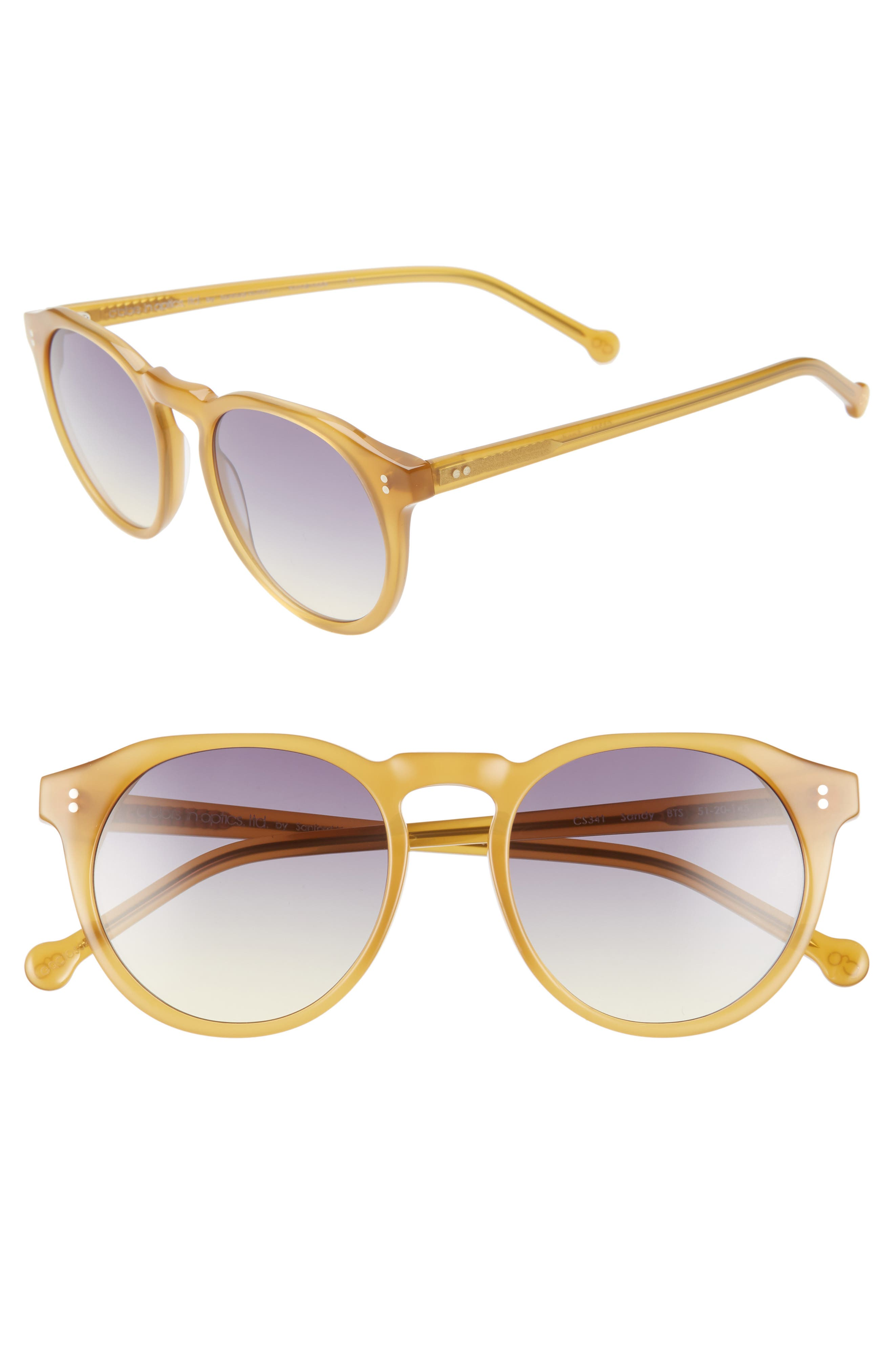 Sandy 51mm Gradient Round Sunglasses, Main, color, BUTTERSCOTCH