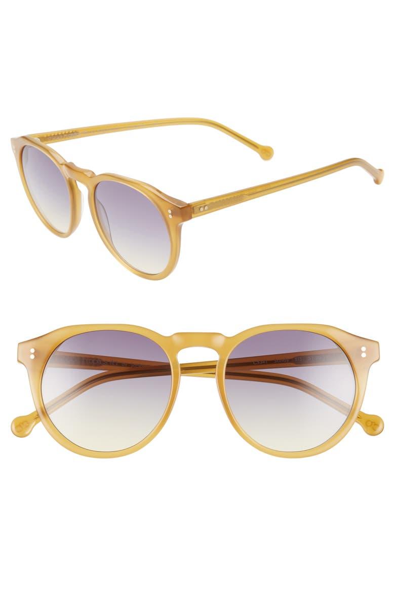 COLORS IN OPTICS Sandy 51mm Gradient Round Sunglasses, Main, color, BUTTERSCOTCH