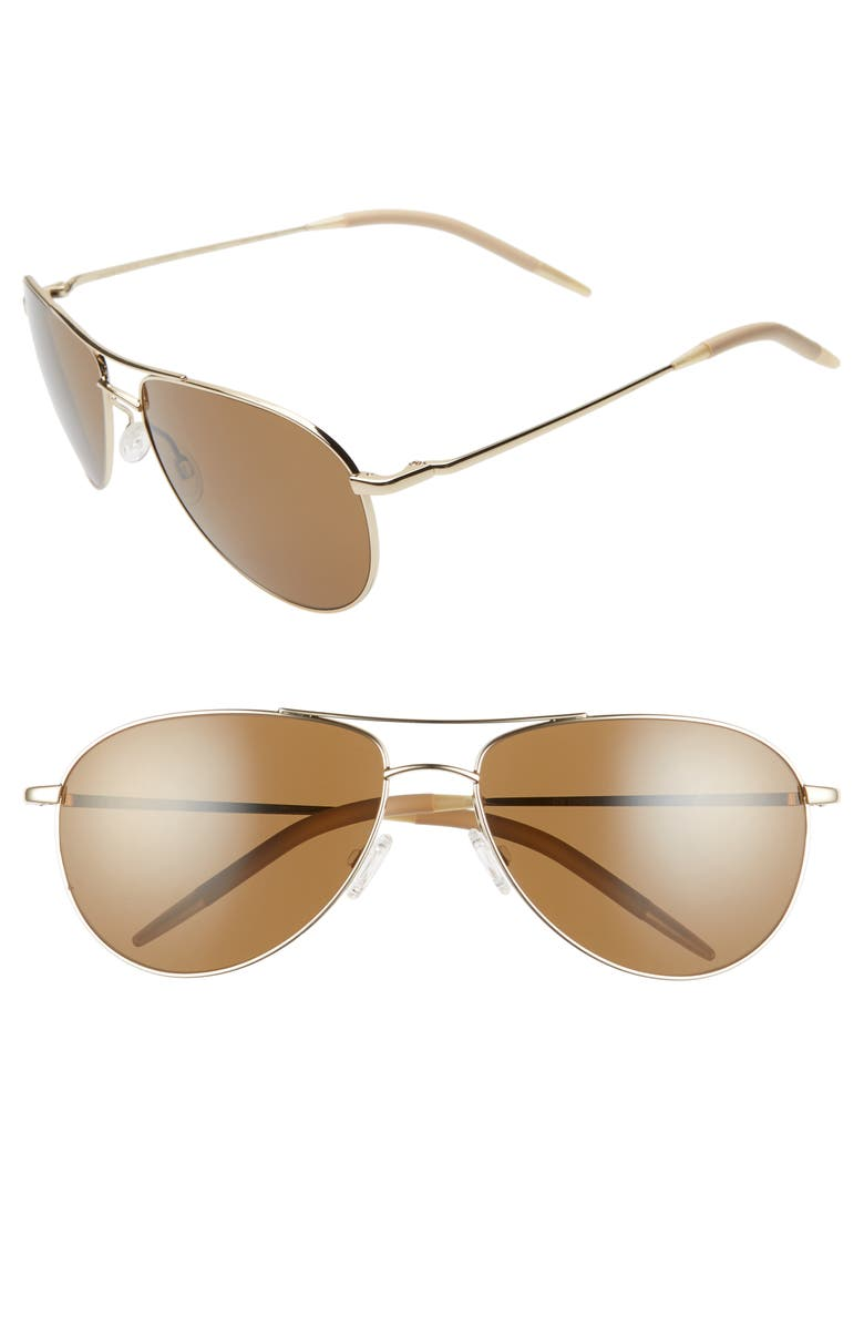 OLIVER PEOPLES Benedict 59mm Aviator Sunglasses, Main, color, GOLD/BROWN