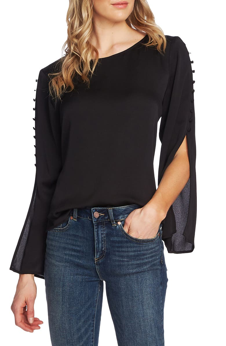 VINCE CAMUTO Button Split Sleeve Hammered Satin Top, Main, color, RICH BLACK