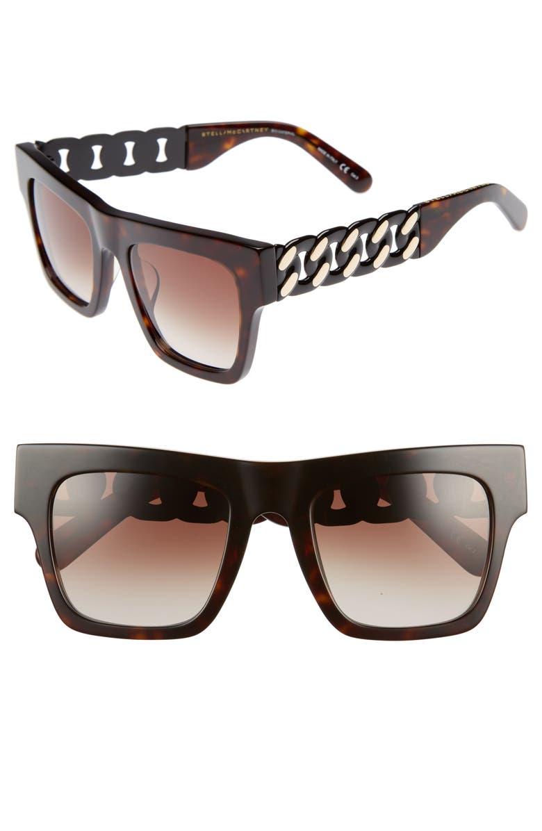 STELLA MCCARTNEY 51mm Square Sunglasses, Main, color, AVANA