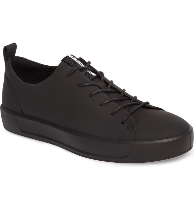 ECCO Soft 8 Sneaker, Main, color, BLACK LEATHER