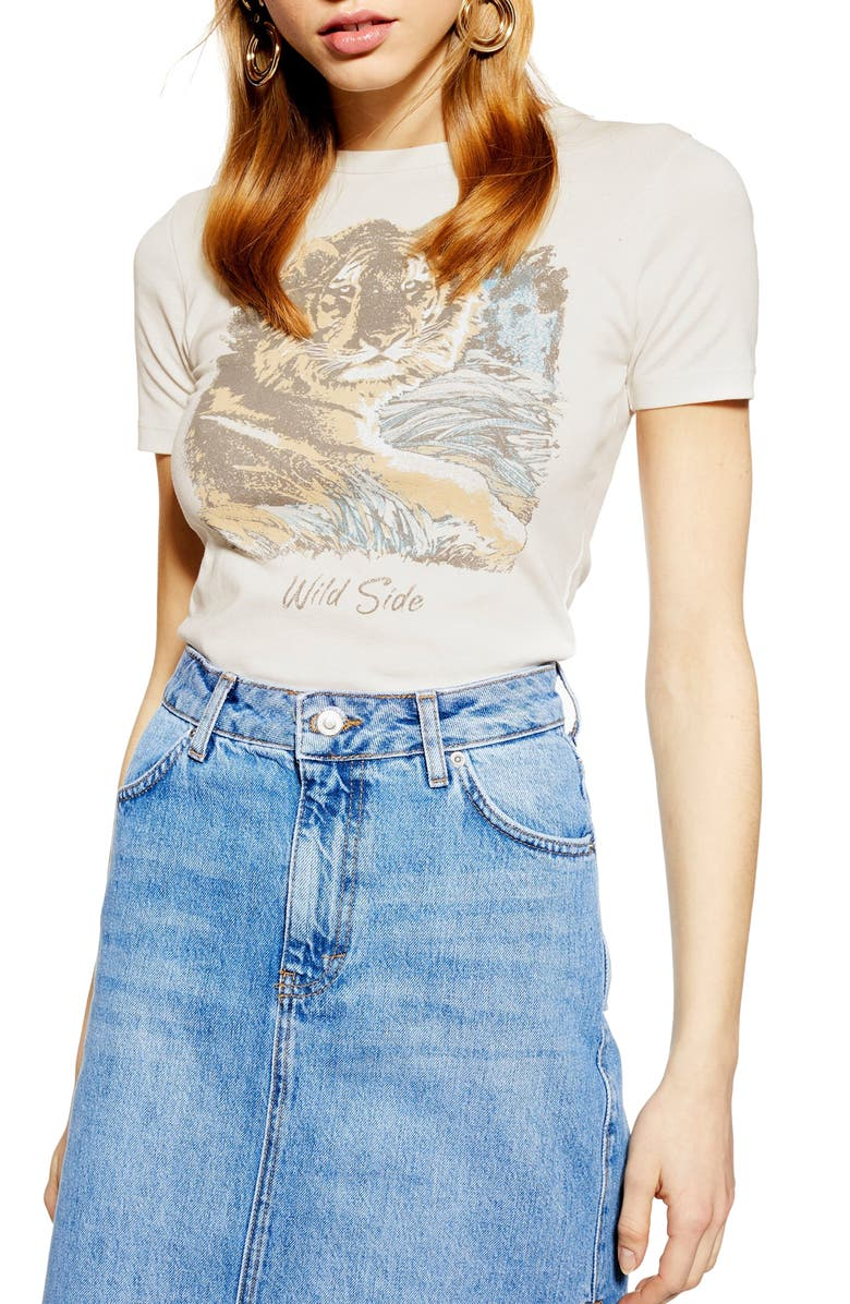TOPSHOP Wild Side Tee, Main, color, 100