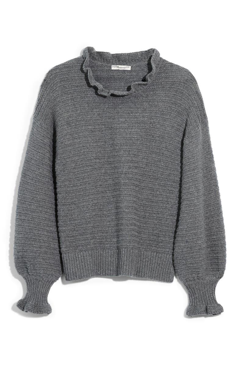 MADEWELL Ruffle Neck Sweater, Main, color, HEATHER STONE
