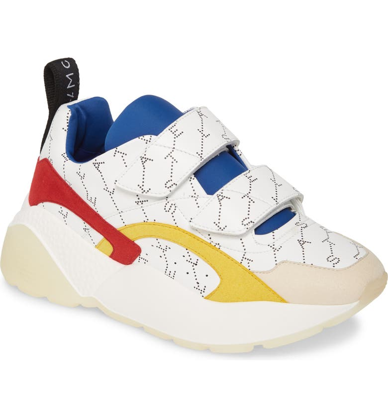 STELLA MCCARTNEY Eclypse Hook-and-Loop Sneaker, Main, color, WHITE/ RED/ YELLOW