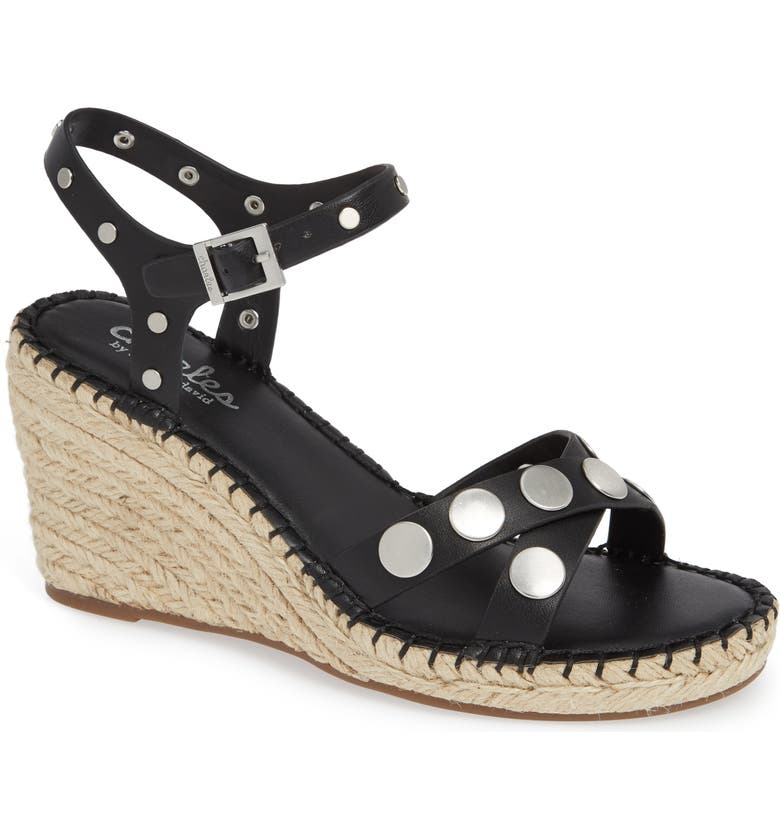 CHARLES BY CHARLES DAVID Nacho Studded Wedge Sandal, Main, color, BLACK FAUX LEATHER
