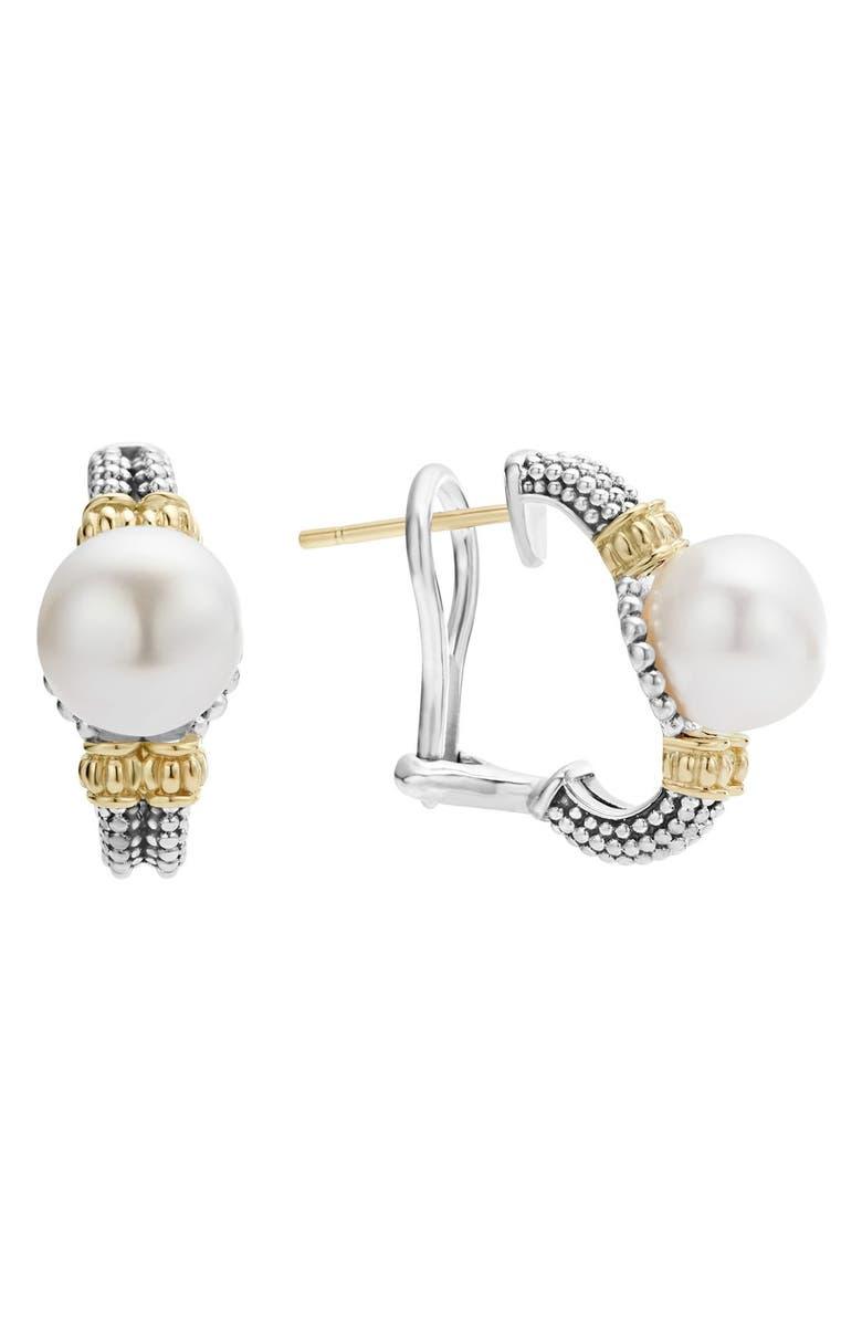 LAGOS Luna Pearl Stud Earrings, Main, color, SILVER/ PEARL