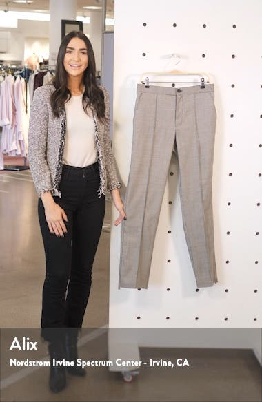 Straight Leg Houndstooth Stretch Wool Pants, sales video thumbnail