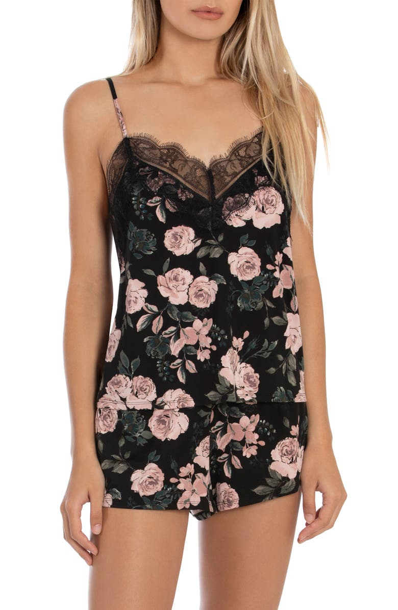 MIDNIGHT BAKERY Nala Print Shorts Pajamas, Main, color, ROSE/ BLACK