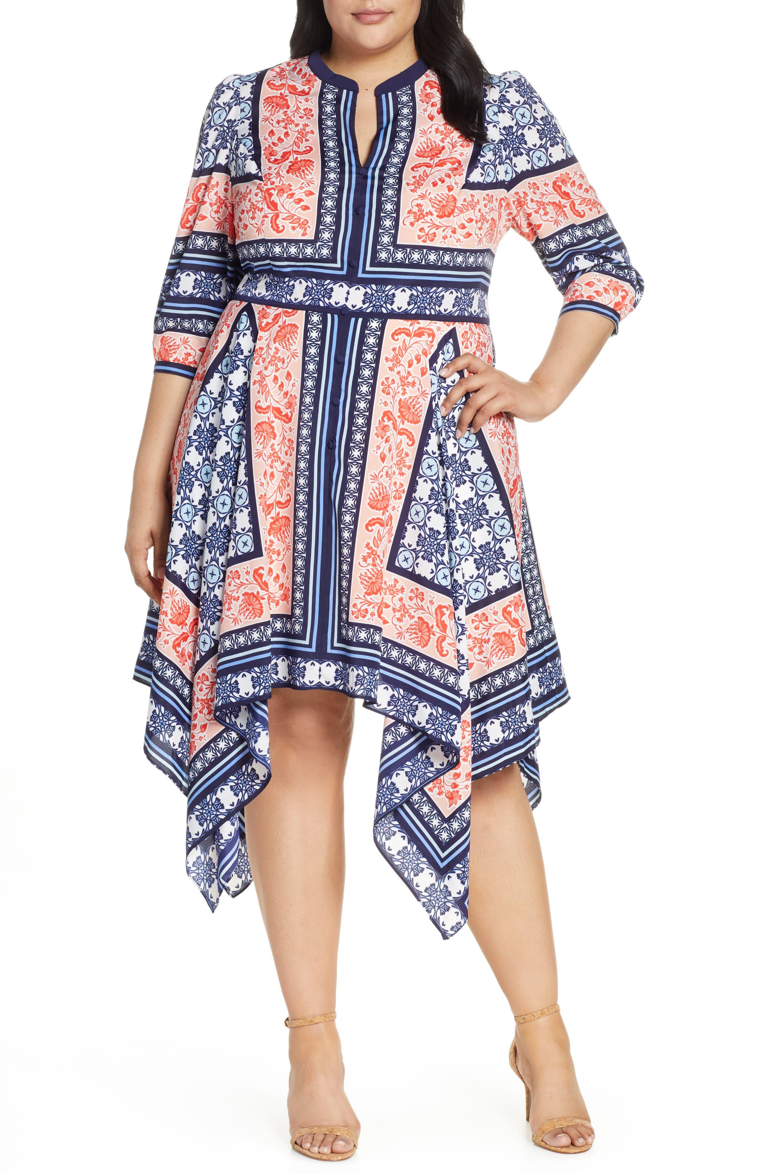 Plus Size Eliza J Bandana Print Handkerchief Hem Dress, Blue