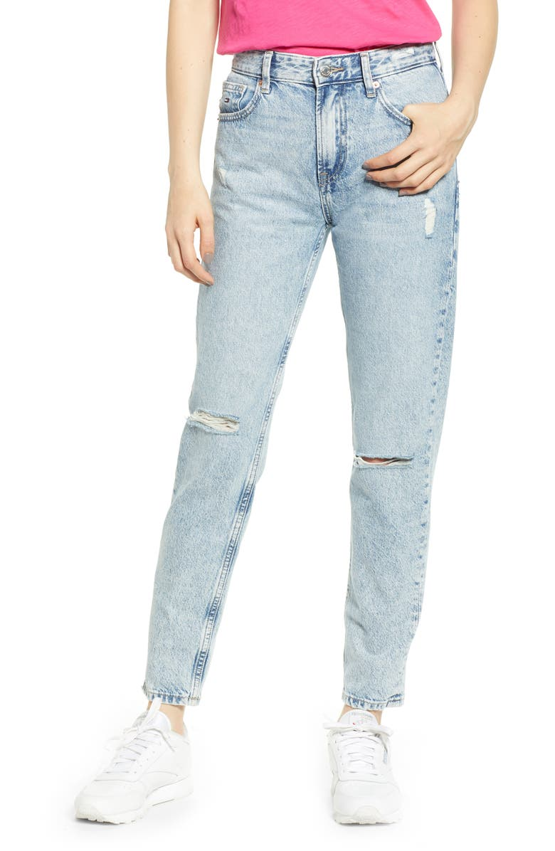 TOMMY JEANS Izzy Ripped High Waist Jeans, Main, color, TJ SILVER LT BL RIG