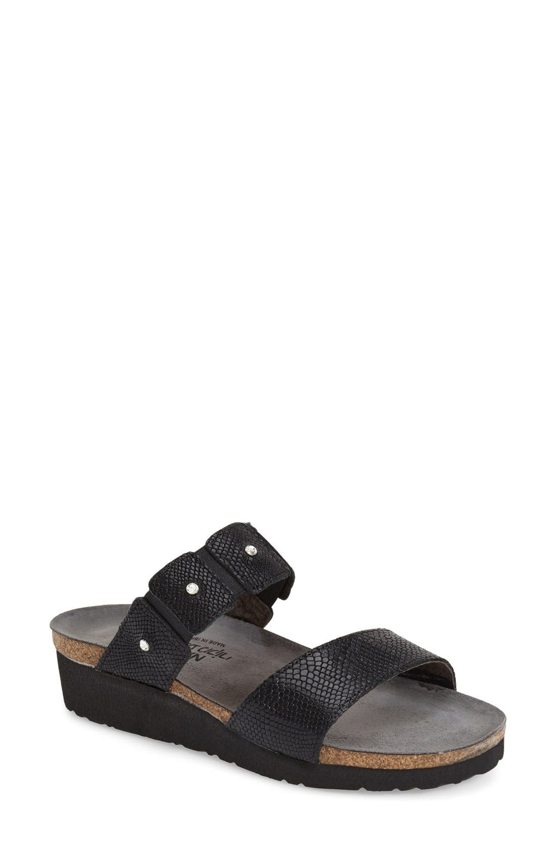 Rhinestone studs add shine to a super-comfortable flat sandal, anatomically engineered for optimal comfort and support. Style Name: Naot \\\'Ashley\\\' Sandal. Style Number: 216928. Available in stores.