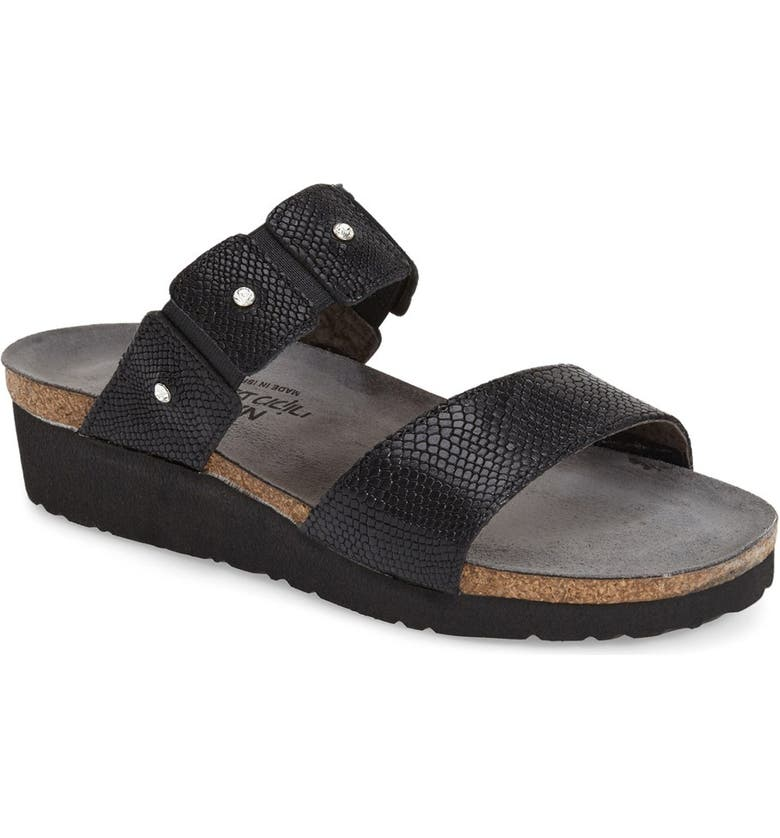 NAOT 'Ashley' Sandal, Main, color, BLACK SNAKE LEATHER