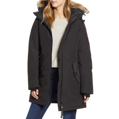 Canada Goose Rosemont Arctic Tech 625 Fill Power Down Parka With Genuine Coyote Fur Trim, Black