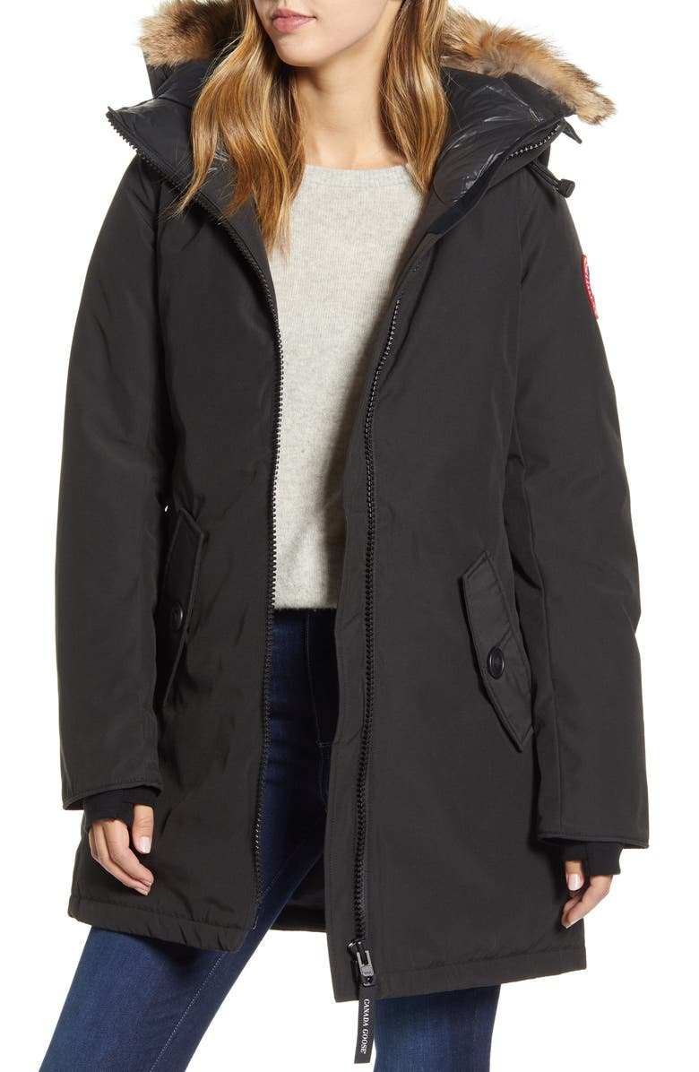 CANADA GOOSE Rosemont Arctic Tech 625 Fill Power Down Parka with Genuine Coyote Fur Trim, Main, color, BLACK