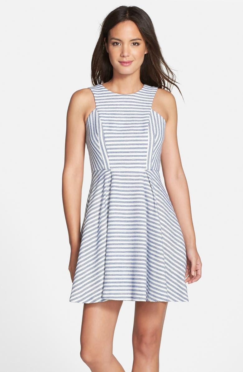BCBGENERATION Stripe Tweed Fit & Flare Dress, Main, color, 400