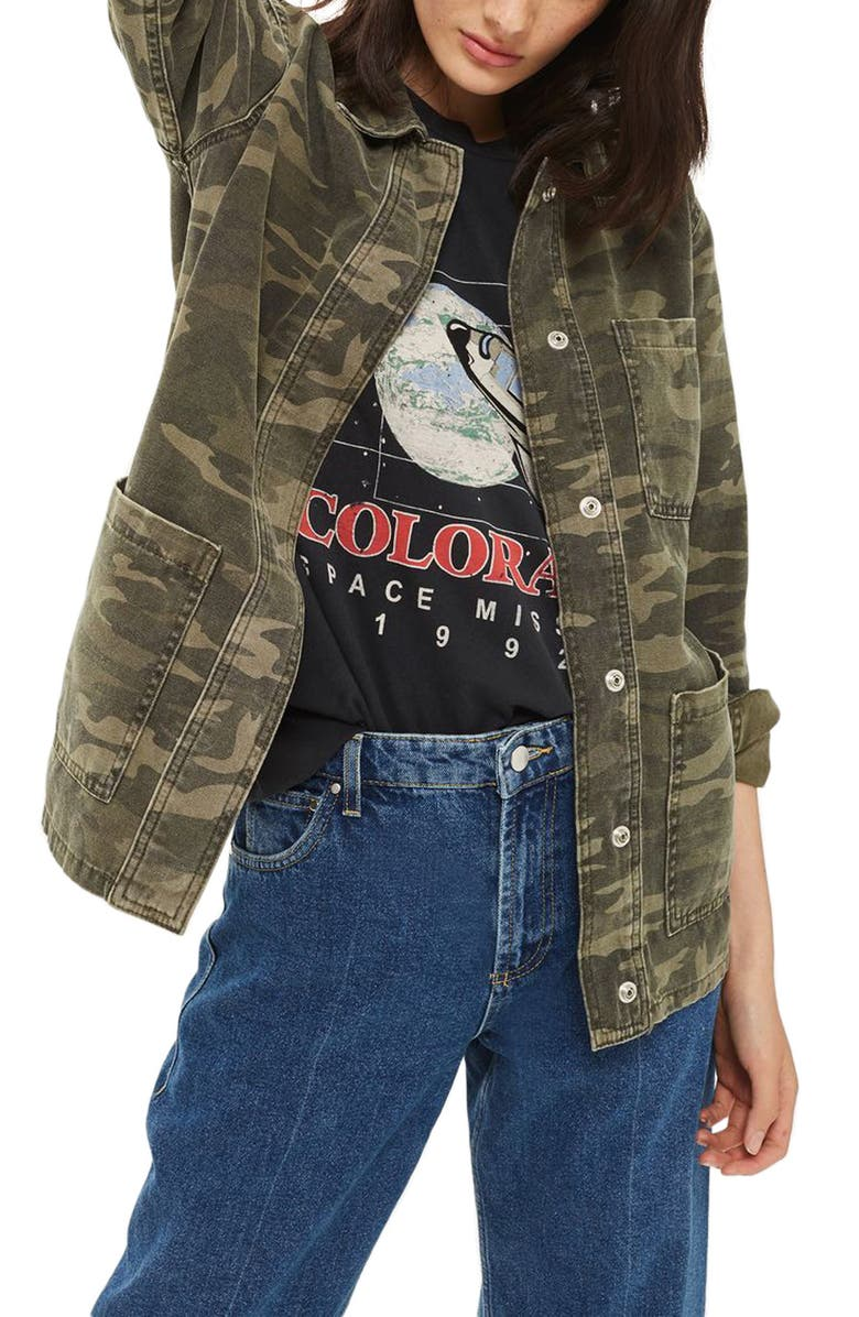 TOPSHOP Cleo Camo Shirt Jacket, Main, color, 300