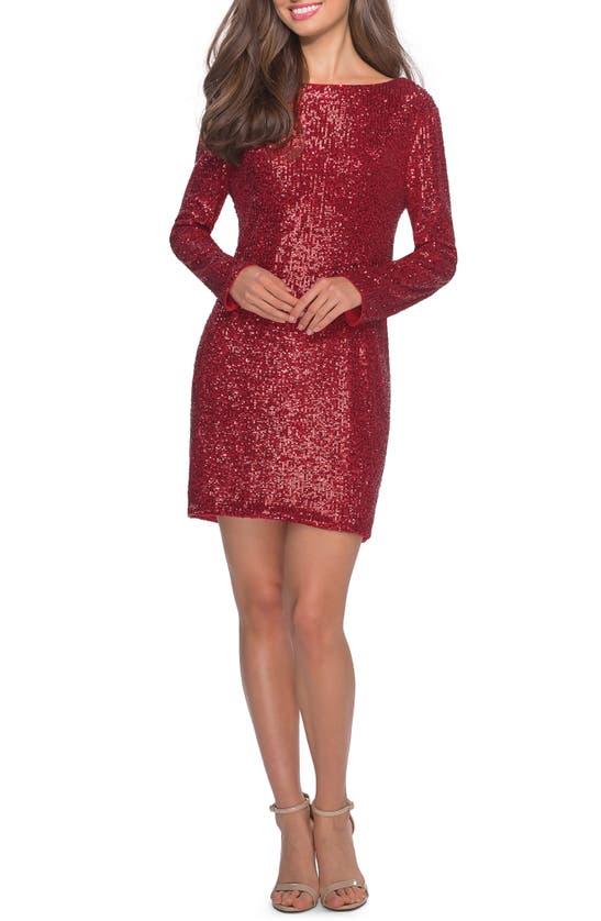 La Femme LONG SLEEVE SEQUIN COCKTAIL DRESS