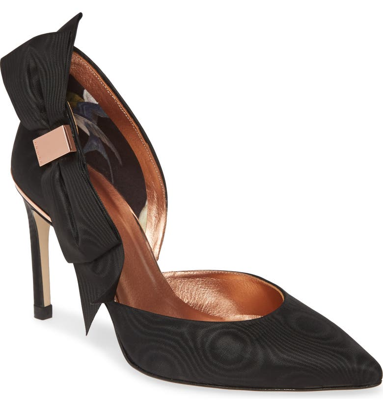 TED BAKER LONDON Camoir Bow Pointed Toe Pump, Main, color, 001