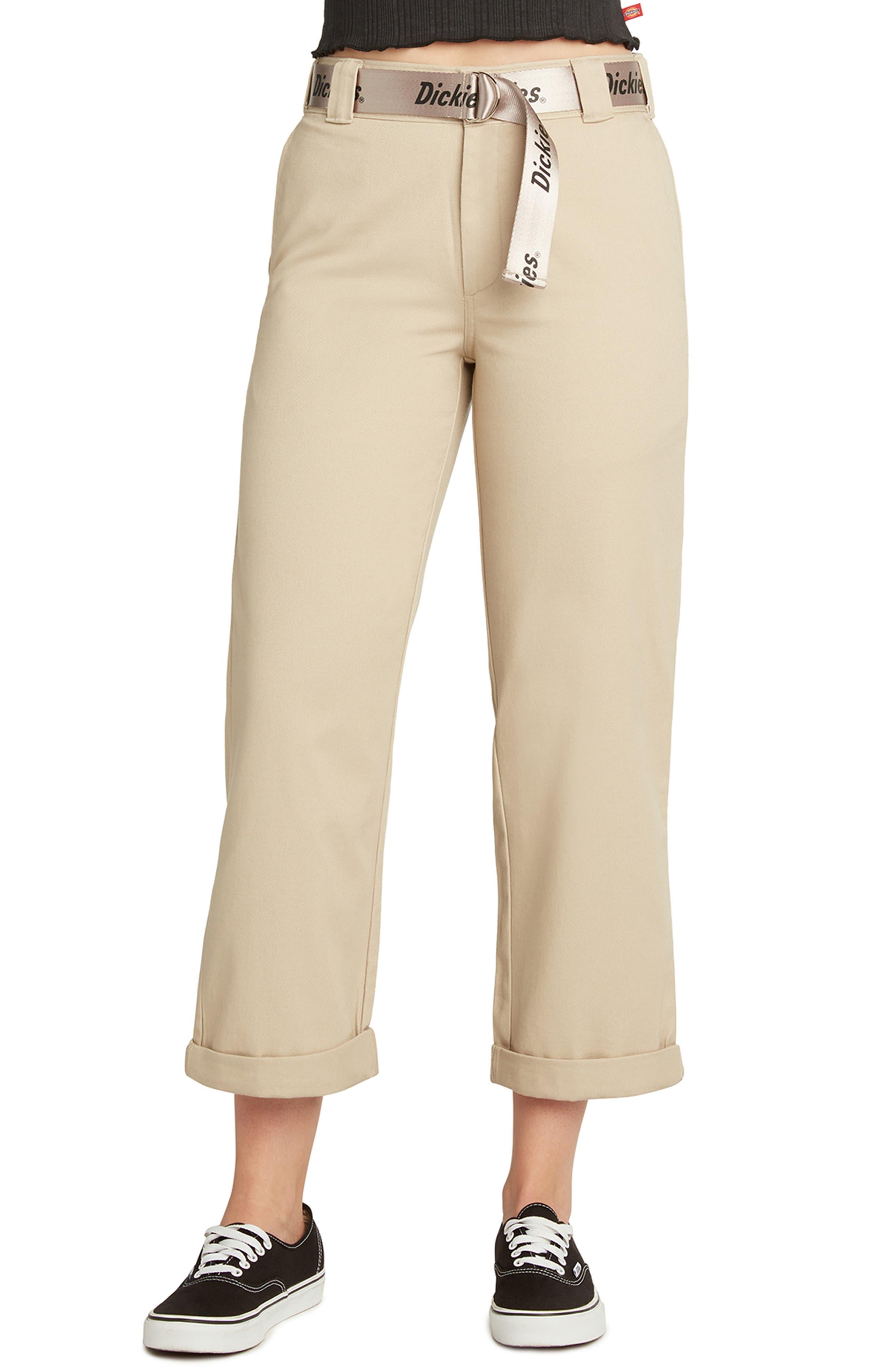 Belted High Waist Roll Cuff Crop Pants