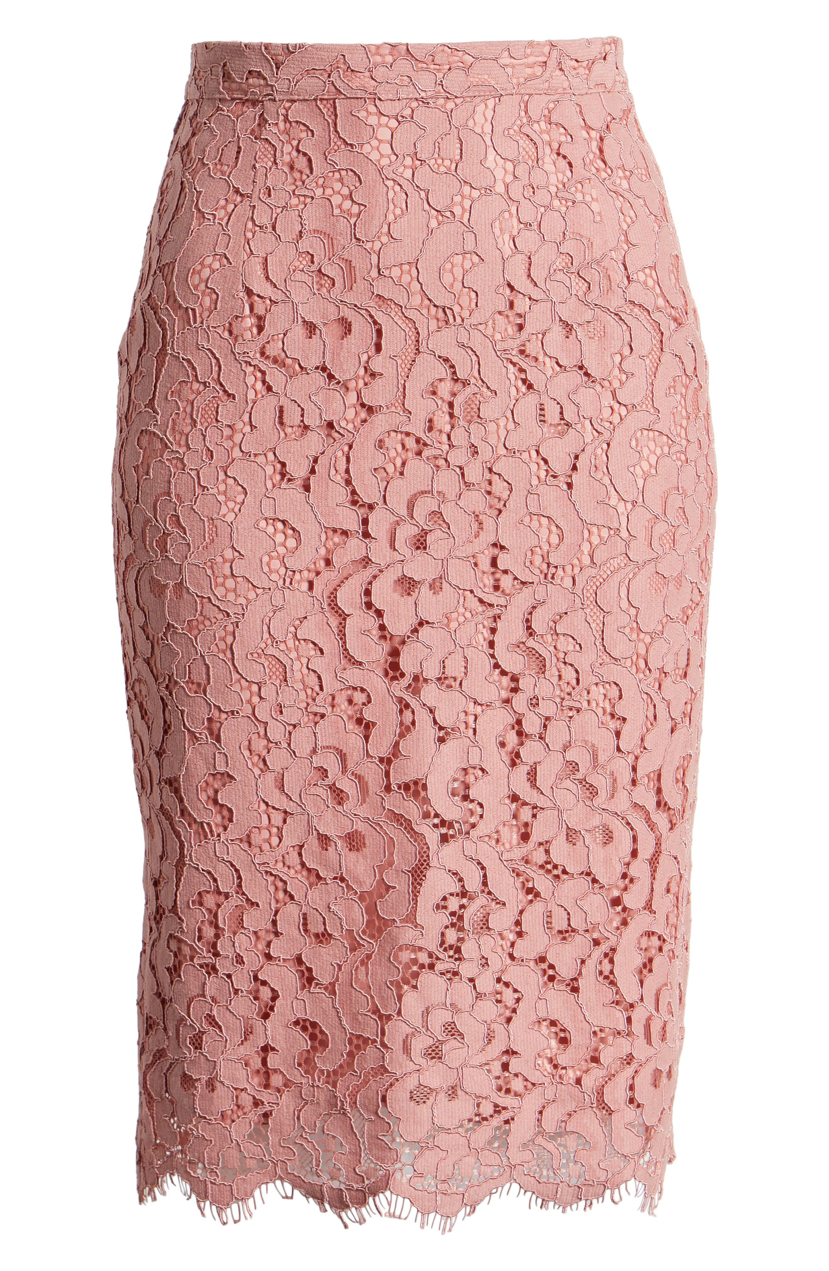 ,                             Lace Pencil Skirt,                             Alternate thumbnail 7, color,                             PINK BEAUTY