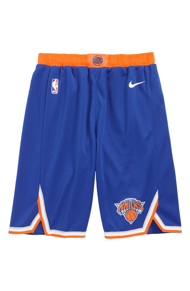 NIKE Icon New York Knicks Basketball Shorts, Main, color, RUSH BLUE