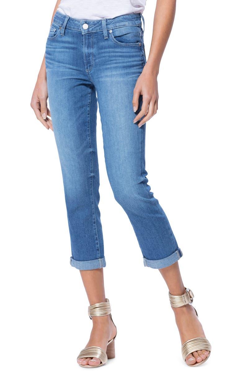 PAIGE Transcend Vintage - Brigitte High Waist Crop Boyfriend Jeans, Main, color, 400