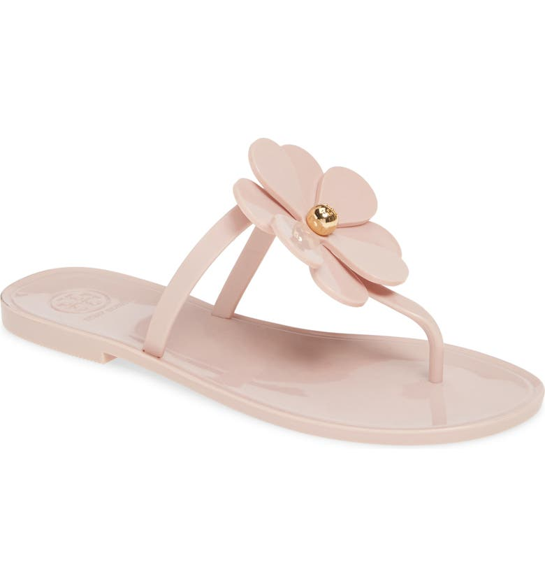 TORY BURCH Floral Jelly Flip Flop, Main, color, MINERAL PINK