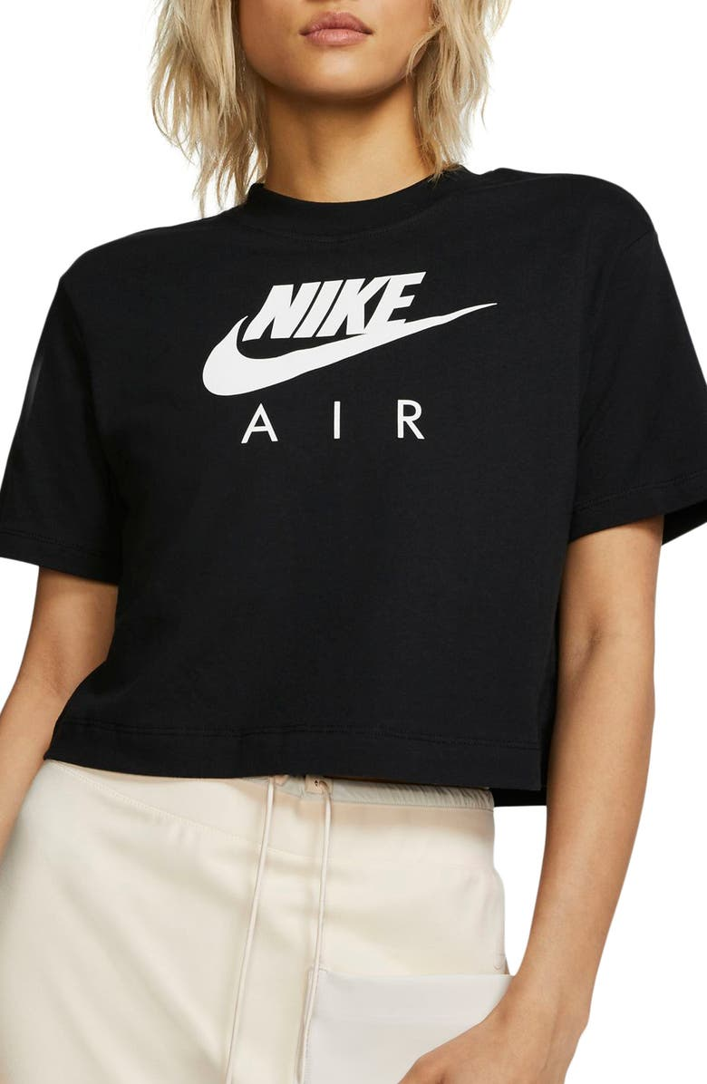 NIKE Sportswear Logo Crop Organic Cotton Tee, Main, color, BLACK