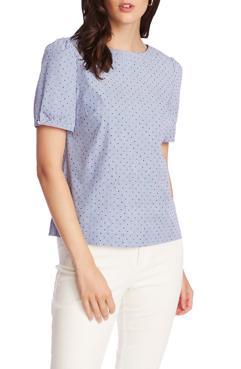 COURT & ROWE Flocked Dot Pinstripe Short Sleeve Cotton Blouse, Main, color, CHAMBRAY BLUE
