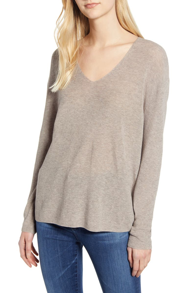 VELVET BY GRAHAM & SPENCER V-Neck Sweater, Main, color, FLAX