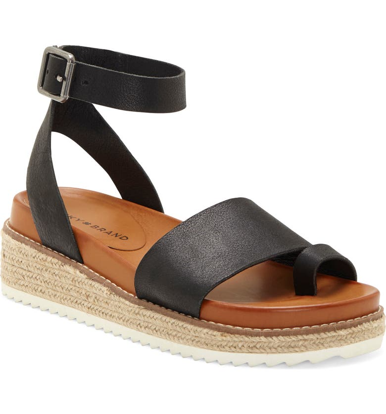 LUCKY BRAND Itolva Ankle Strap Espadrille Sandal, Main, color, BLACK LEATHER
