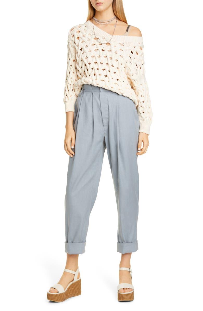 BRUNELLO CUCINELLI Pleated Stretch Linen & Cotton Pants, Main, color, CLOUD