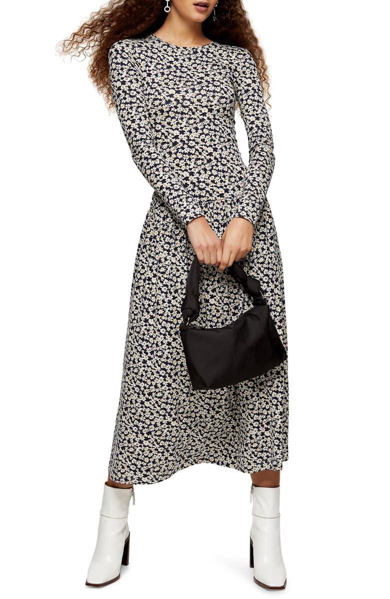 TOPSHOP Daisy Print Tiered Hem Long Sleeve Dress, Main, color, BLACK MULTI